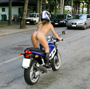 naked chick on a motorcycle